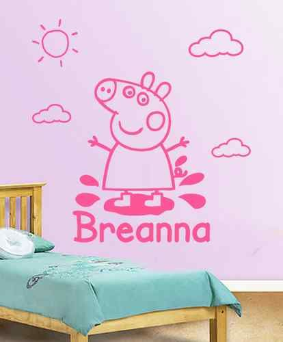 Details about Peppa Pig Wall Decal   Vinyl Sticker Personalised Childrens  Bedroom Decoration. Peppa Pig George Pig Dinosaur Wall Stickers Art Decal Vinyl Girls