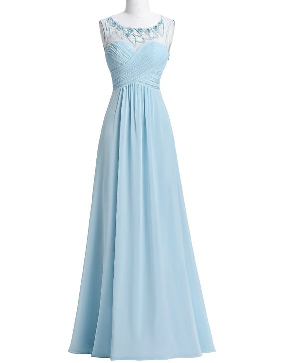 New Arrival Chiffon Bridesmaid Dresses,Light Blue Long Wedding Party Dress