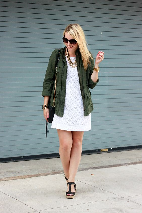 Simple white lace sheath dress dressed down for fall with cargo coat