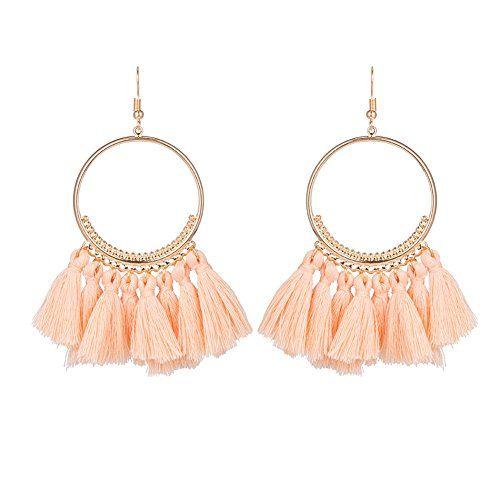 Boho Femme Fashion Perles Tassel Fringe Goutte Dangle Ear Stud Boucles d/'oreilles Bijoux