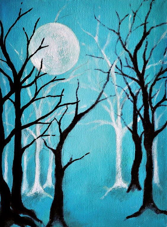 "HALLOWEEN Original Abstract Painting 9x7"" Ghost Forest and Full Moon"