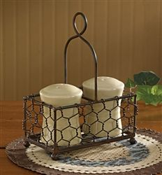 """Wire Salt and Pepper or Cruet Caddy This chicken wire caddy holds salt and pepper containers that are up to 2 1/4"""" diameter. But think of the possibilities! It could hold a cruet set, or a pretty piece for the bath vanity or your desk. Or to hold two little flower vases.  7 1/2"""" high x 5 1/2"""" wide x 3 1/4"""" deep  By Park Designs  Salt and pepper shakers not included"""