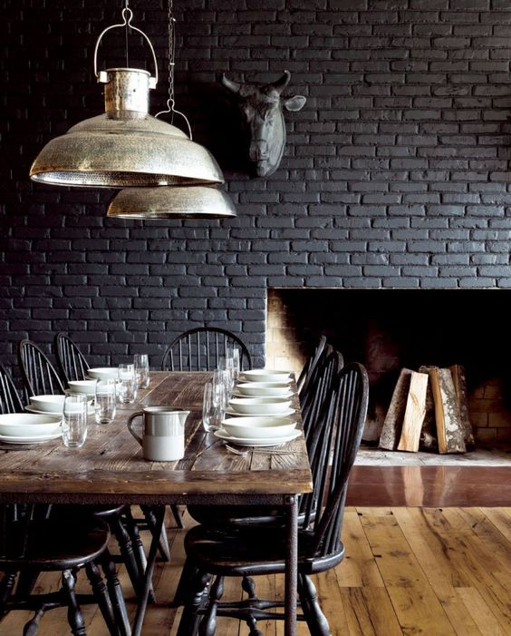 50 Bold And Inventive Dining Rooms With Brick Walls: 28 Ideas For Black Wall Interior Styling