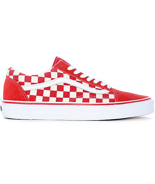 Vans Old Skool Red & White Checkered Skate Shoes | Red vans ...