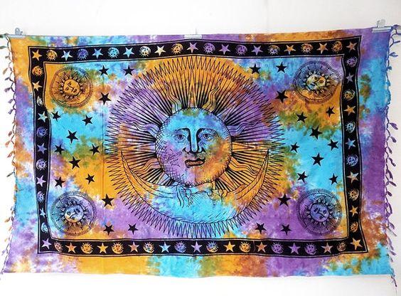 TIE DYE PSYCHEDELIC Wandbehang Sonne Mond Wandbehang Hippie Wand hängen böhmischen Boho Einstreu werfen indische Tagesdecke ethnischen Wohnkultur