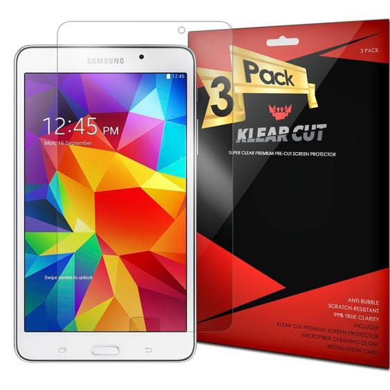 Klear Cut [3 Pack] – Screen Protector for Samsung Galaxy Tab 4 7.0 – Lifetime Replacement Warranty - Anti-Bubble