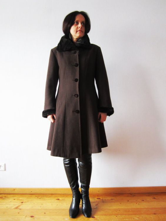 Brown Cashmere blend Coat Russian Princess Wool Coat Faux Fur