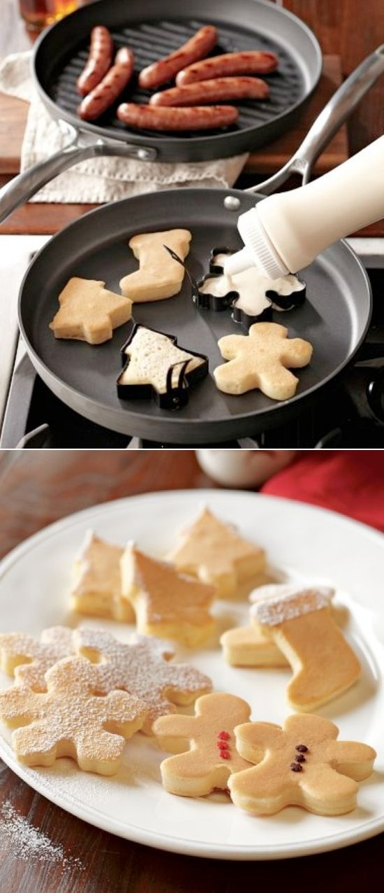 Christmas shaped pancake molds. EASY Christmas breakfast idea! We usually have a big breakfast Christmas morning, going to try this for the kids