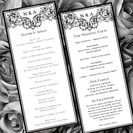 Wedding Ceremony Vienna Black White Program Template