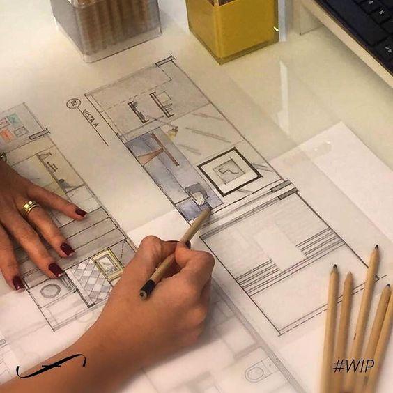 O croqui é muito importante pra deixar a criatividade fluir e apresentar as primeiras ideias para os clientes. Aqui no escritório o digital convive harmoniosamente com o desenho à mão. :) by susanaclarkfiuza