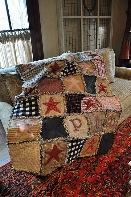 Flannel rag quilt with stars and initials of a boy I know... (....cr....this quilt is wonderful for either girl or boy....just change a few of the colors but keep it rustic even for a girl....love it):