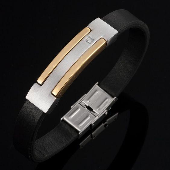 R Modern Mix Stainless Steel Leather Silver Gold CZ Bracelet | RnBJewellery