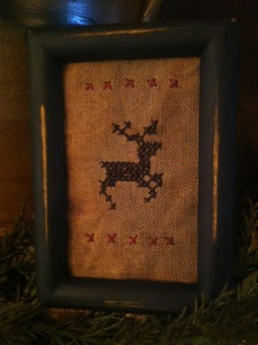 Primitive Sampler~ Primitive Reindeer Ornament ~ Tuckaway ~Mini Stitchery