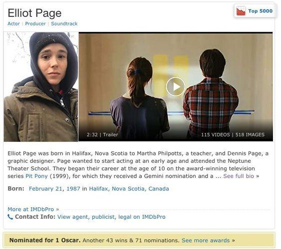 Ficha del actor Elliot Page en IMDb