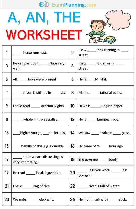 A, An, The Worksheet English Grammar For Kids, English Grammar Exercises,  English Lessons For Kids