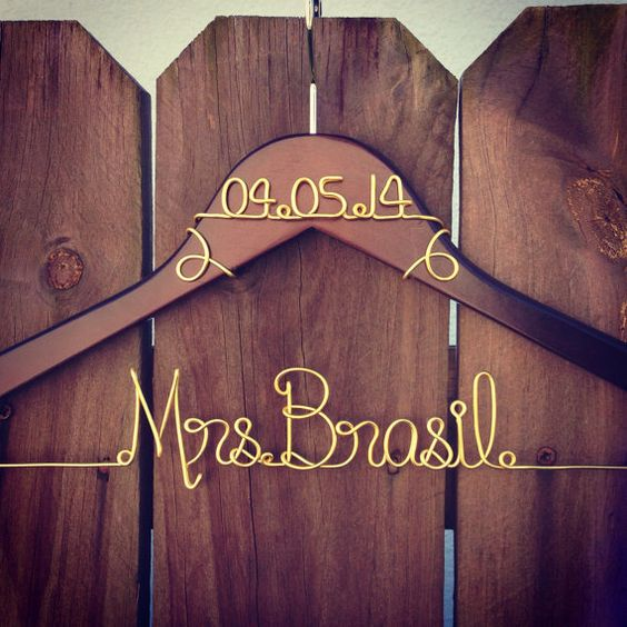 I love how the date is at the top of this one! Personalized Custom Wire Wedding Hanger and by HighfillsHangers, $20.00