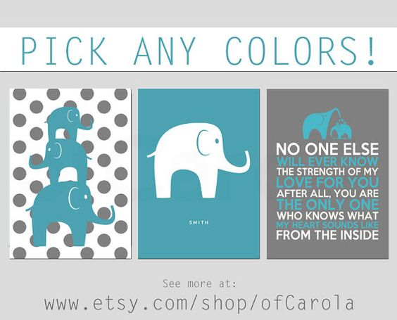Elephants No One Else Quote Wall Art Print Set THREE, Personalized Stacked Animals Boys Girls Decor Aqua Green Turquoise Gray White ofCarola on Etsy, $24.00