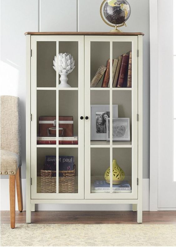 Storage Cabinet With Glass Doors Display Solutions Front
