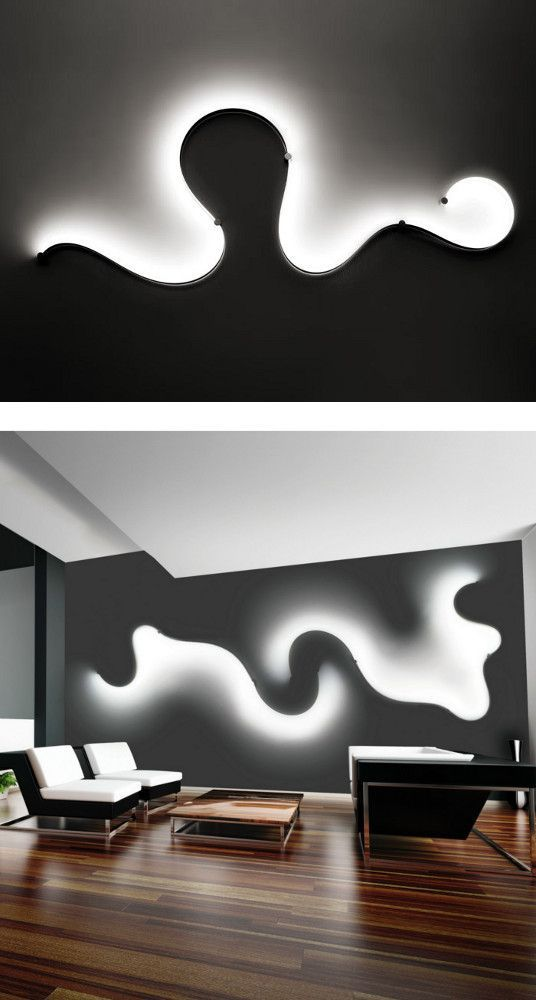 This Cool Design On The Wall Obviously Is Implied Light The Shape Gives The Space A Lot Of Fun Elements That It Would Creative Lamps Simple Lamp Led Wall Lamp