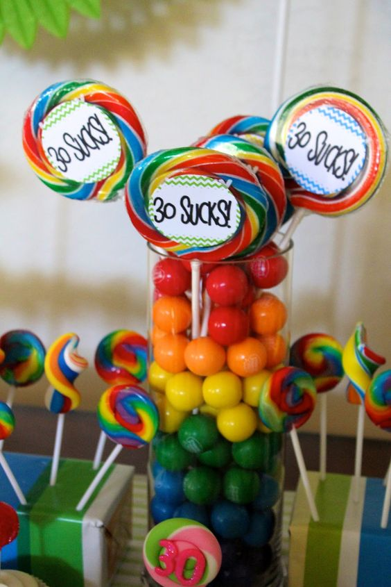 30th birthday favor centerpieces