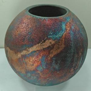 Raku Fired Ball Vase | madstone - Ceramics & Pottery on ArtFire: