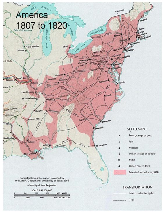 1807 To 1820 Settlement Towns Camp Or Post Fort Mission Mine Indian Village Or Pueblo Urban Center Extent Of Settled Area In 1820 In Pink