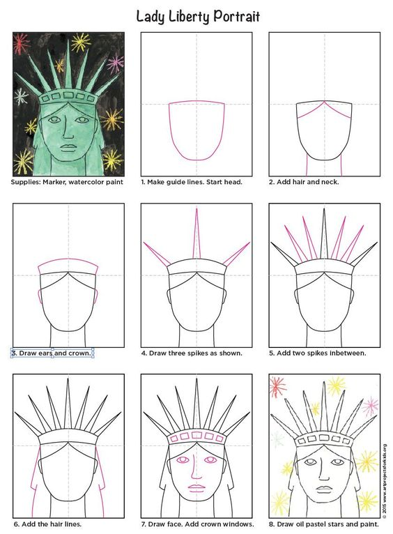 Statue of Liberty portrait, watercolor and oil pastels. PDF tutorial available. #howtodraw #directeddraw #staueofliberty