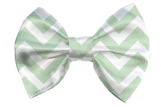 Mint Chevron Hair Bow