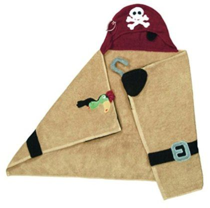 Bath time is covered with this cuddly pirate hooded towel.