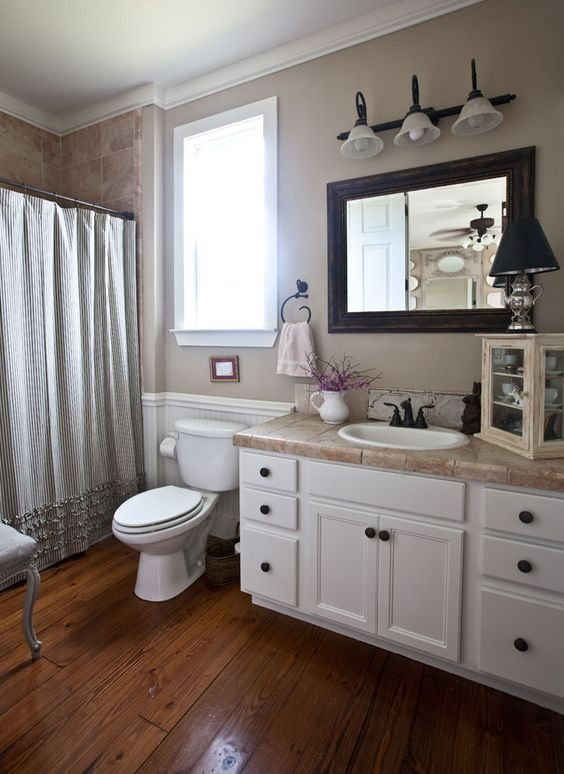 Farmhouse bathroom reveal paint colors vanities and windsor for Painting with a twist cedar hill tx