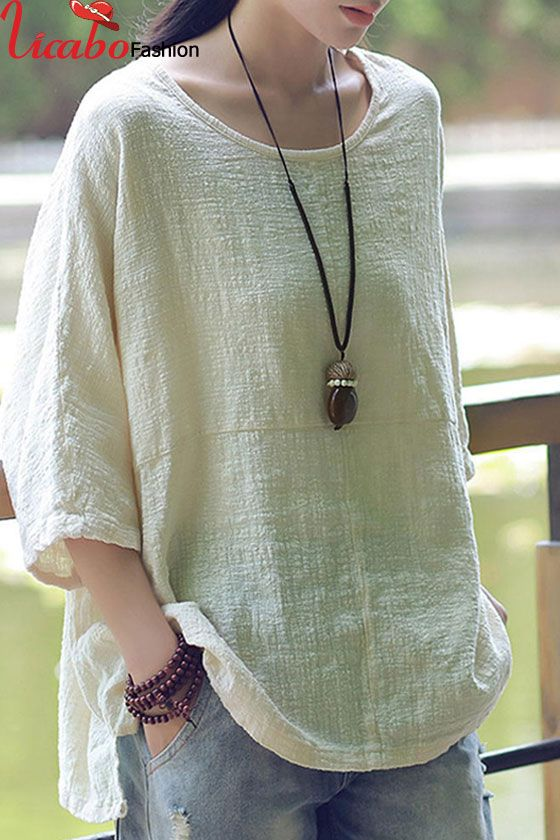 Women 3//4 Sleeve Solid Shirt Tunic O Neck Casual Loose Pullover Blouses Button Tops