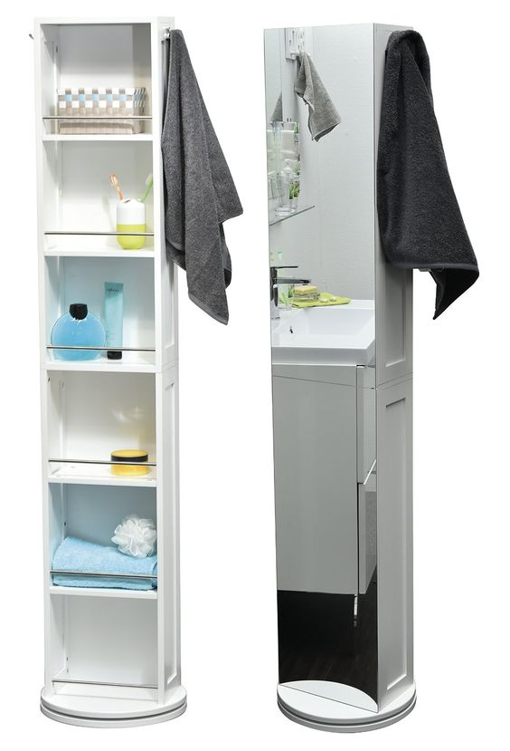 Revolving Bathroom Storage Tower   6 Cubby Holes + Mirror + 2 Hooks    Colour WHITE