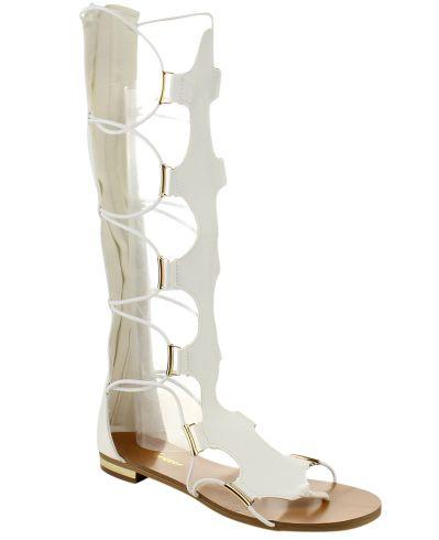 Gladiator Knee High Flat Heel Sandals