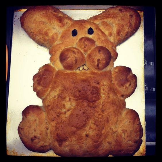 Bunny bread! Buy dough, shape, and bake :)