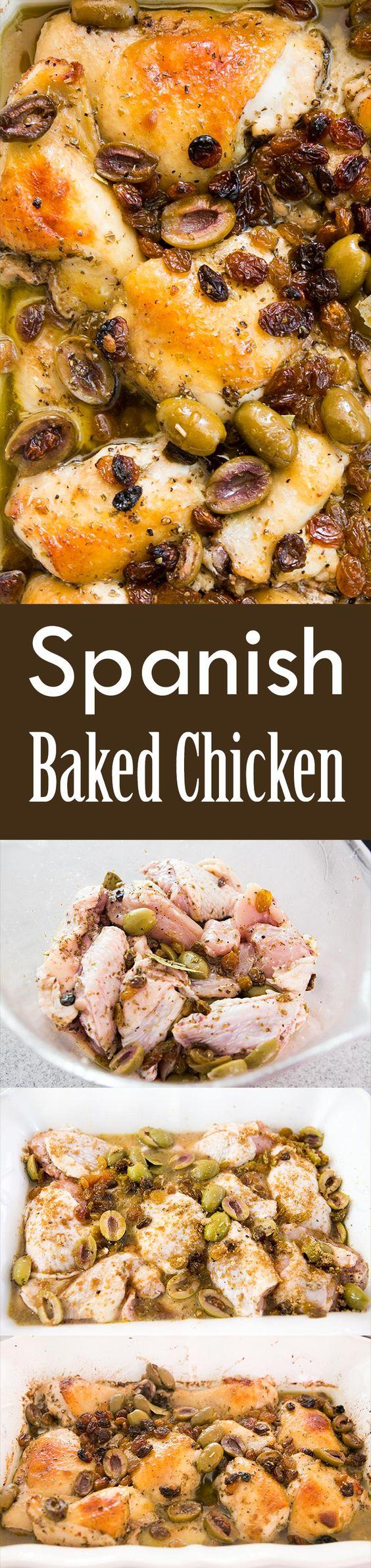 Spanish Baked Chicken, or Pollo Estofado, is so good! Chicken pieces ...