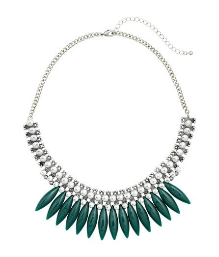 Check this out! Short necklace in antique-finish metal with a metal pendant section in pointed, oblong plastic beads. Adjustable length, 16 1/4 - 19 1/4 in. - Visit hm.com to see more.: