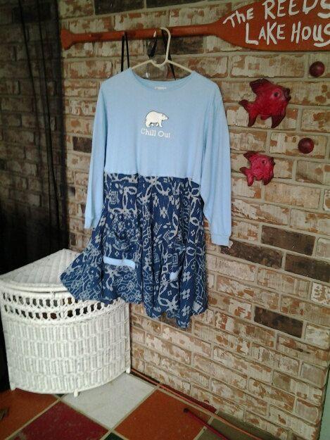 shabby chic / Eco  /  upcycled / tunic / dress / artsy / tee shirt / baby doll tunic      L / XL