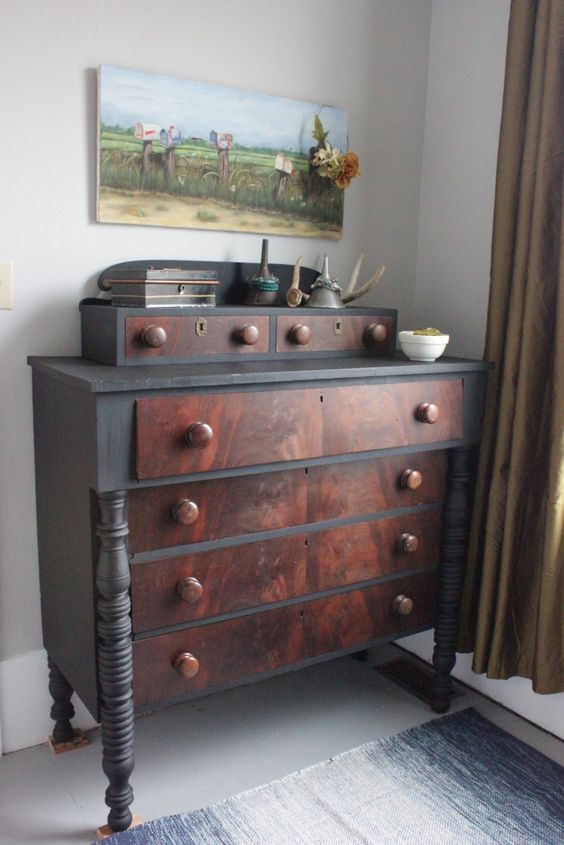 MAKEOVER - Empire Dresser after a coat of Typewriter by Miss Mustard Seed Milk Paint.