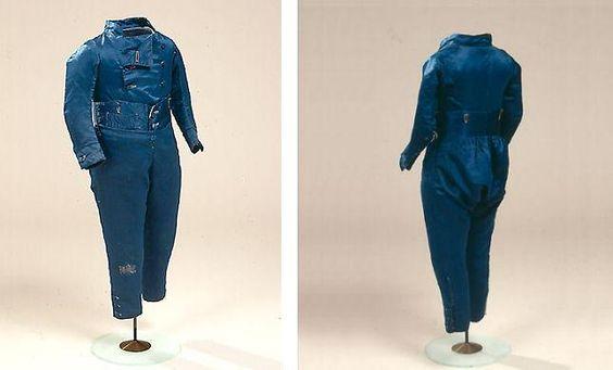 Drengetøj i blå silke med lange bukser, 1780'erne