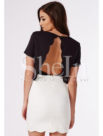 robe couleurs opposées à manches courtes -Noir blanc  photos