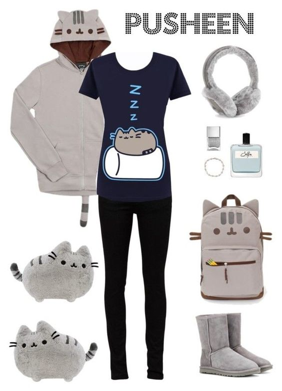 """""""Pusheen"""" by shoujoandmore ❤ liked on Polyvore featuring Yves Saint Laurent, Tiffany & Co., UGG Australia, Nails Inc., Olfactive Studio, cute, teen and pusheen"""