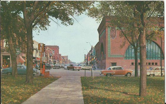 Louis Sullivan's Owatonna, Minnesota bank seen in a postcard from 1956.