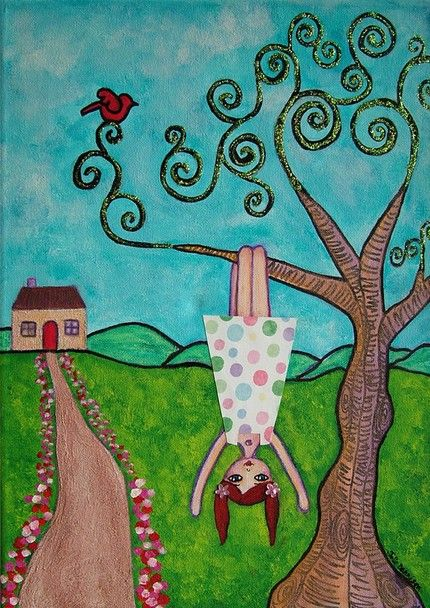 Cute Folk Art Painting Whimsical Landscape Tree Girl Blue