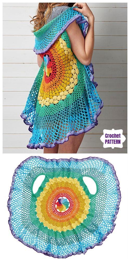 Crochet Lady S Circle Mandala Vest Free Crochet Patterns