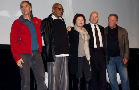 The five Star Trek captains. I love how Stewart is wearing a suit and Bakula is wearing a North Face jacket...