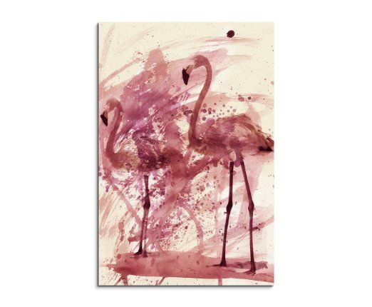 Paul Sinus Art Flamingos Wandbild Leinwand, 90 x 50 x 3 cm