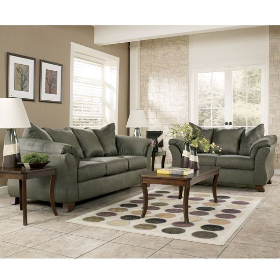 click to enlarge image of durapella - sage modern living room set