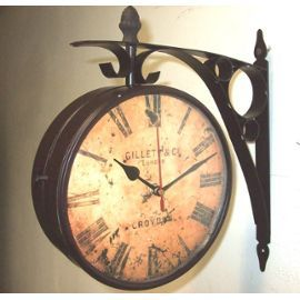 Pendule suspente murale horloge de gare double face gillet en fer 31x33cm l - Pendule de gare double face ...