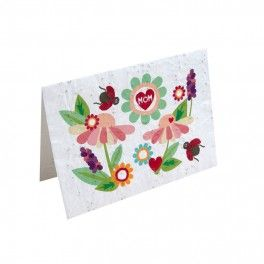 Carte de souhait qui fleurit 'I love mom'