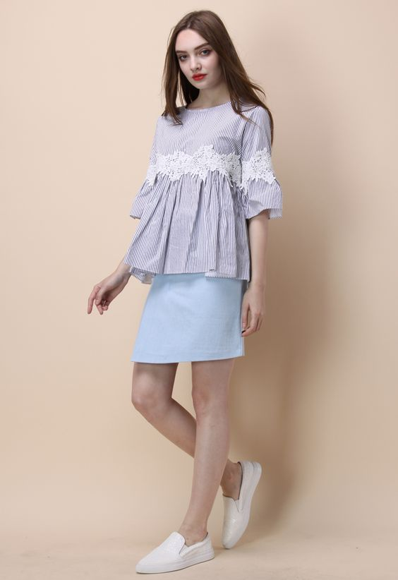 Floral on Stripe Dolly Top - New Arrivals - Retro, Indie and Unique Fashion